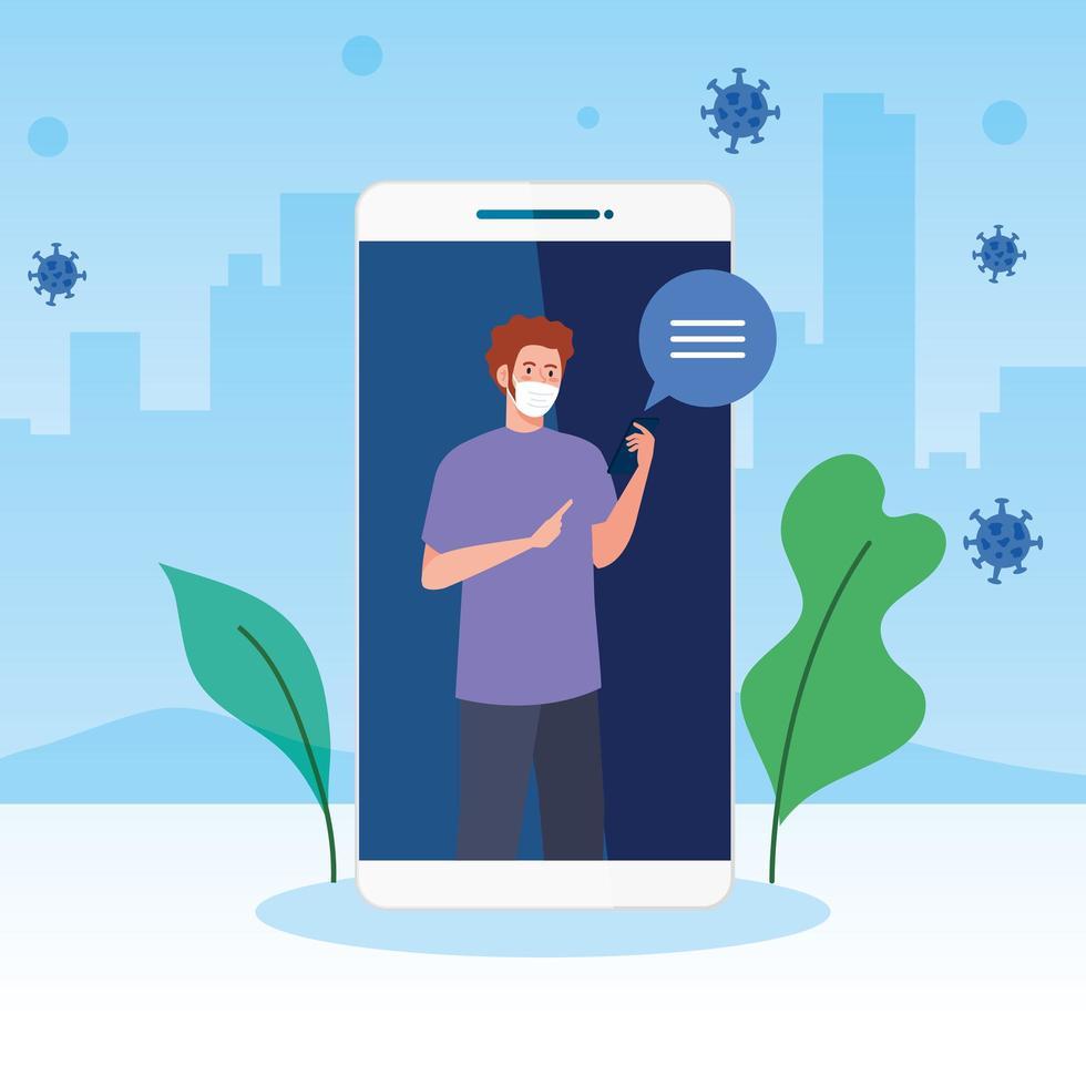 Hombre con máscara sosteniendo smartphone y diseño de vector de burbuja