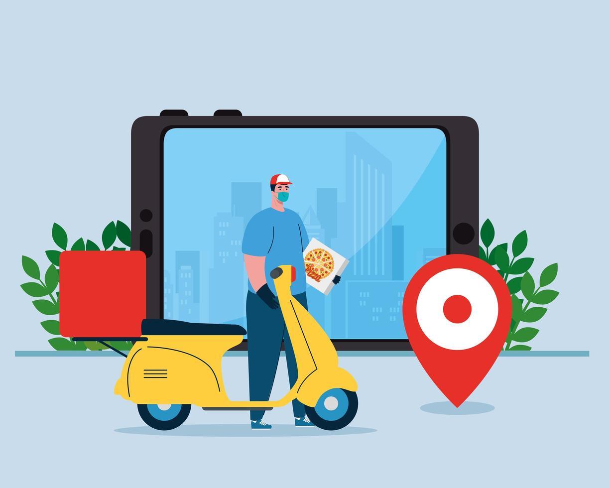 Repartidor con máscara motocicleta caja de pizza y diseño vectorial de teléfono inteligente vector