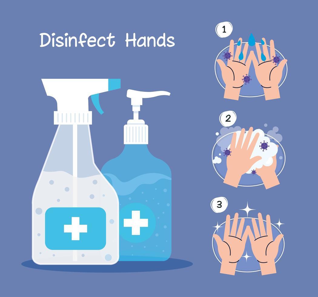 Hands sanitizer bottles and hands washing steps vector design