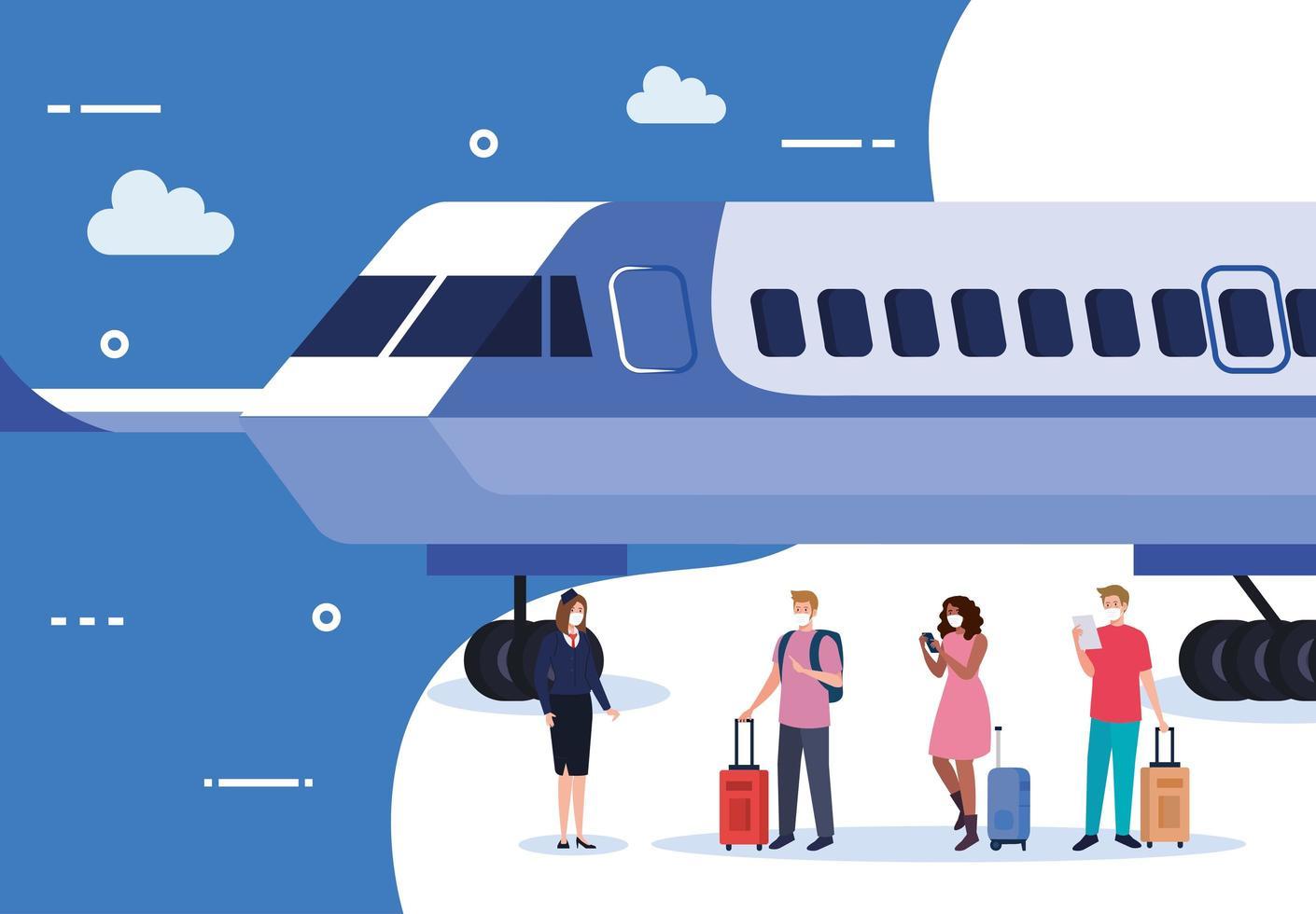 azafata de avión y personas con máscaras médicas y bolsas de diseño vectorial vector