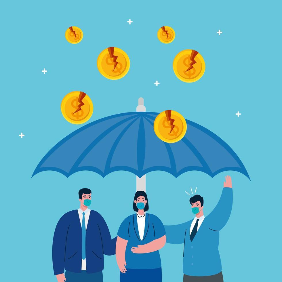 Empresarios con máscaras y paraguas de diseño vectorial de quiebra vector