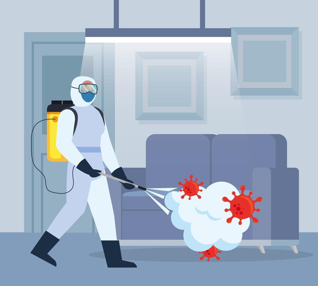 Hombre con traje de protección rociando la habitación de casa con diseño vectorial covid 19 vector