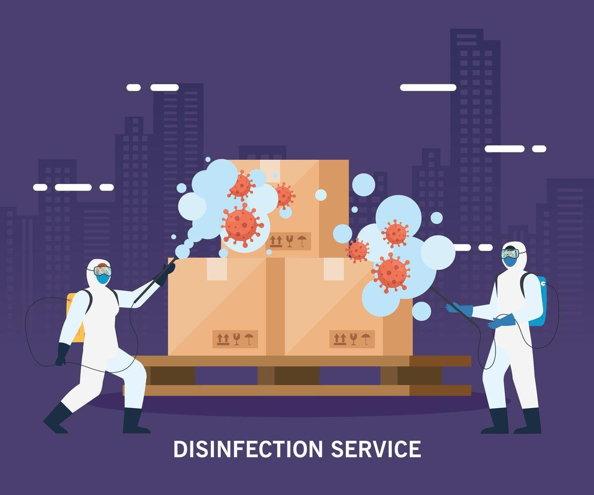 Hombres con traje de protección rociando cajas de entrega con diseño vectorial covid 19 vector