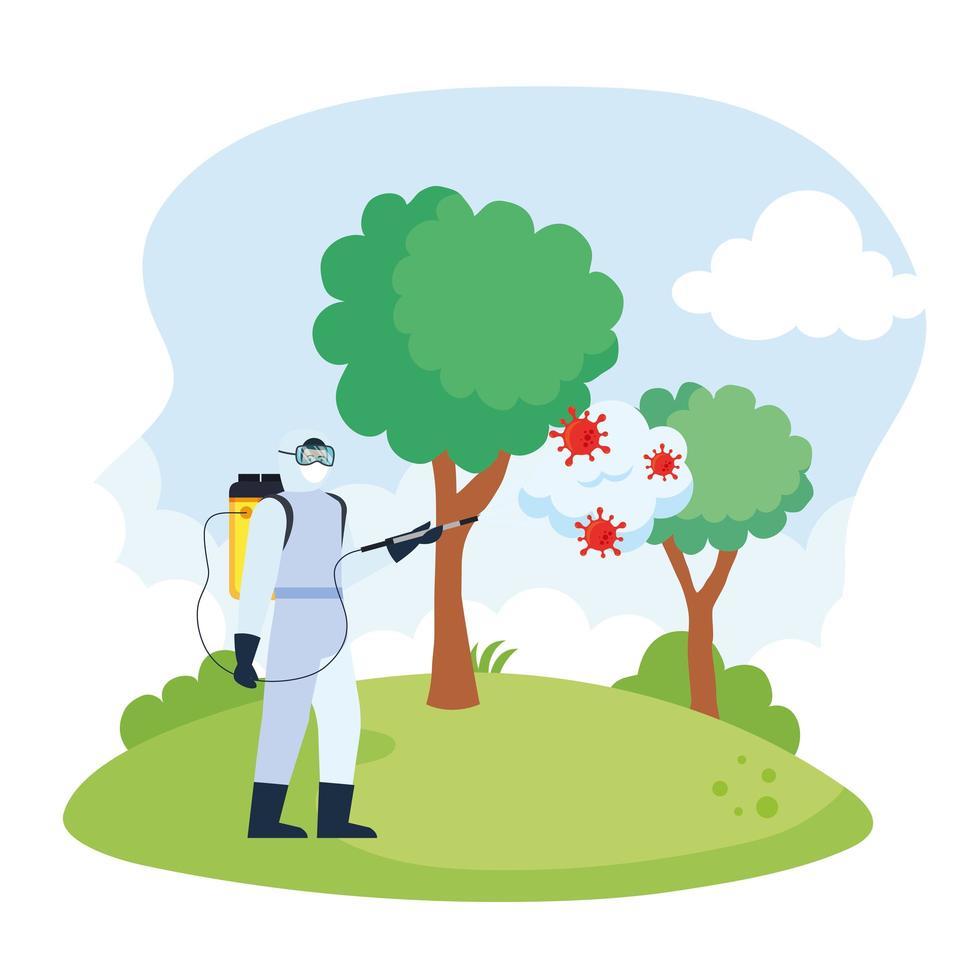 Hombre con traje de protección rociando árboles del parque con diseño vectorial covid 19 vector
