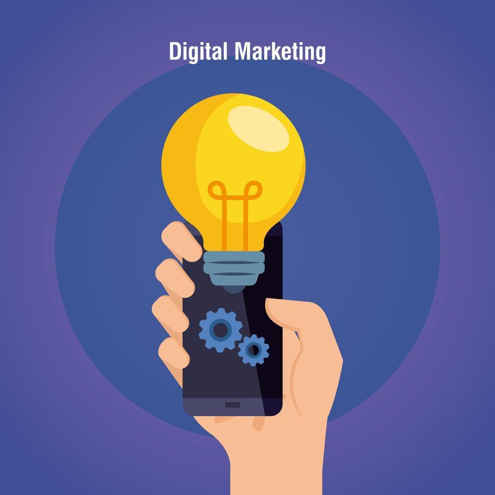Mano que sostiene el teléfono inteligente con bombilla de diseño vectorial de marketing digital vector