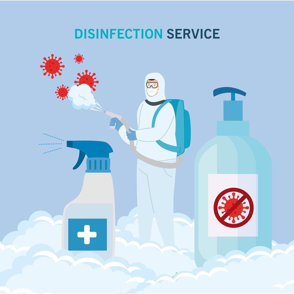 Hombre con traje de protección rociando virus covid 19 y botellas de desinfectante diseño vectorial vector