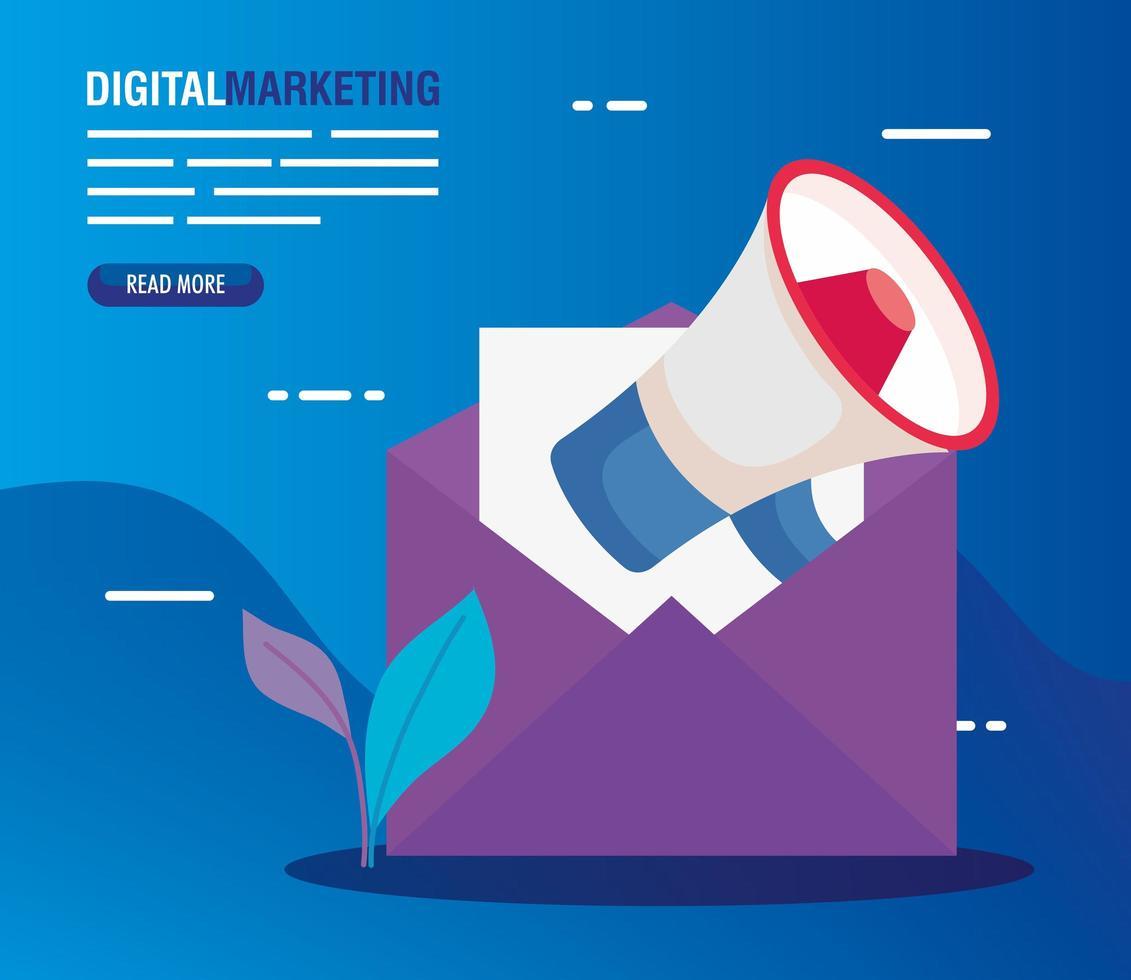 sobre con megáfono de diseño vectorial de marketing digital vector