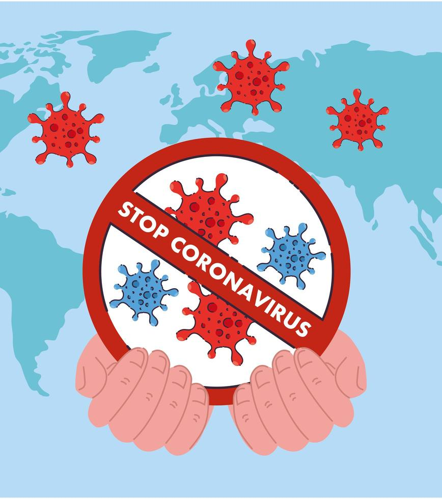 mano sosteniendo detener coronavirus 2019 ncov prohibición diseño vectorial vector