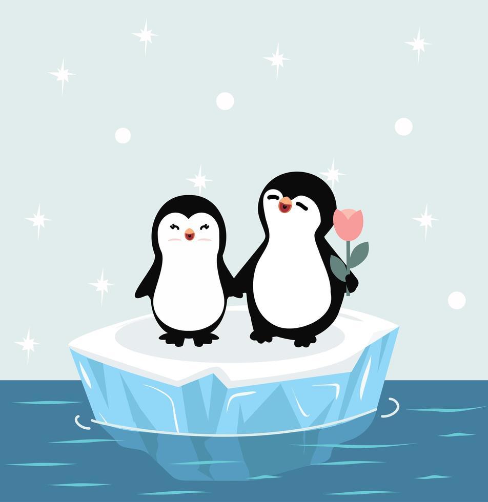 Linda pareja de pingüinos felices en témpano de hielo vector