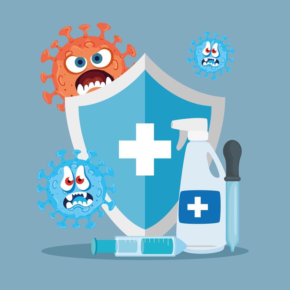 Escudo desinfectante de manos y diseño vectorial de dibujos animados de virus covid 19 vector