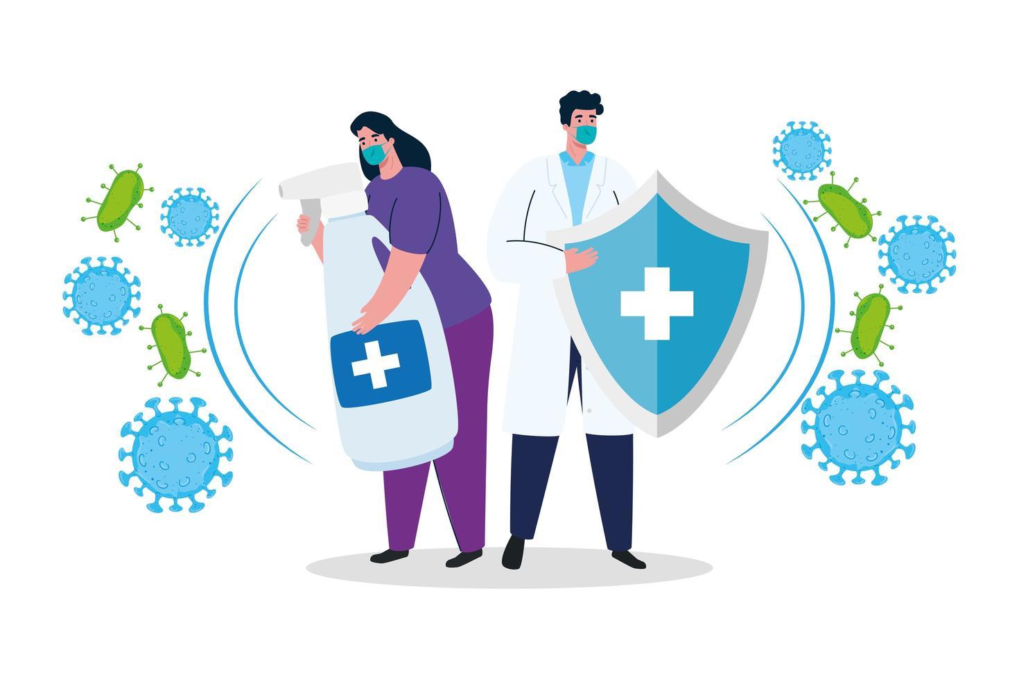 Mujer y médico con máscara desinfectante de manos y diseño vectorial de escudo vector
