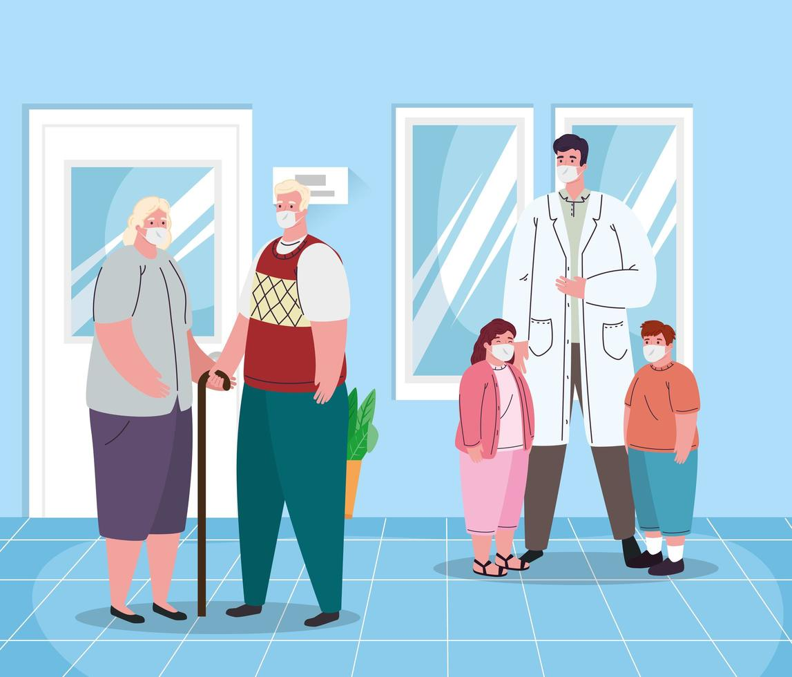 Doctor masculino ancianos y niños con máscaras de diseño vectorial vector