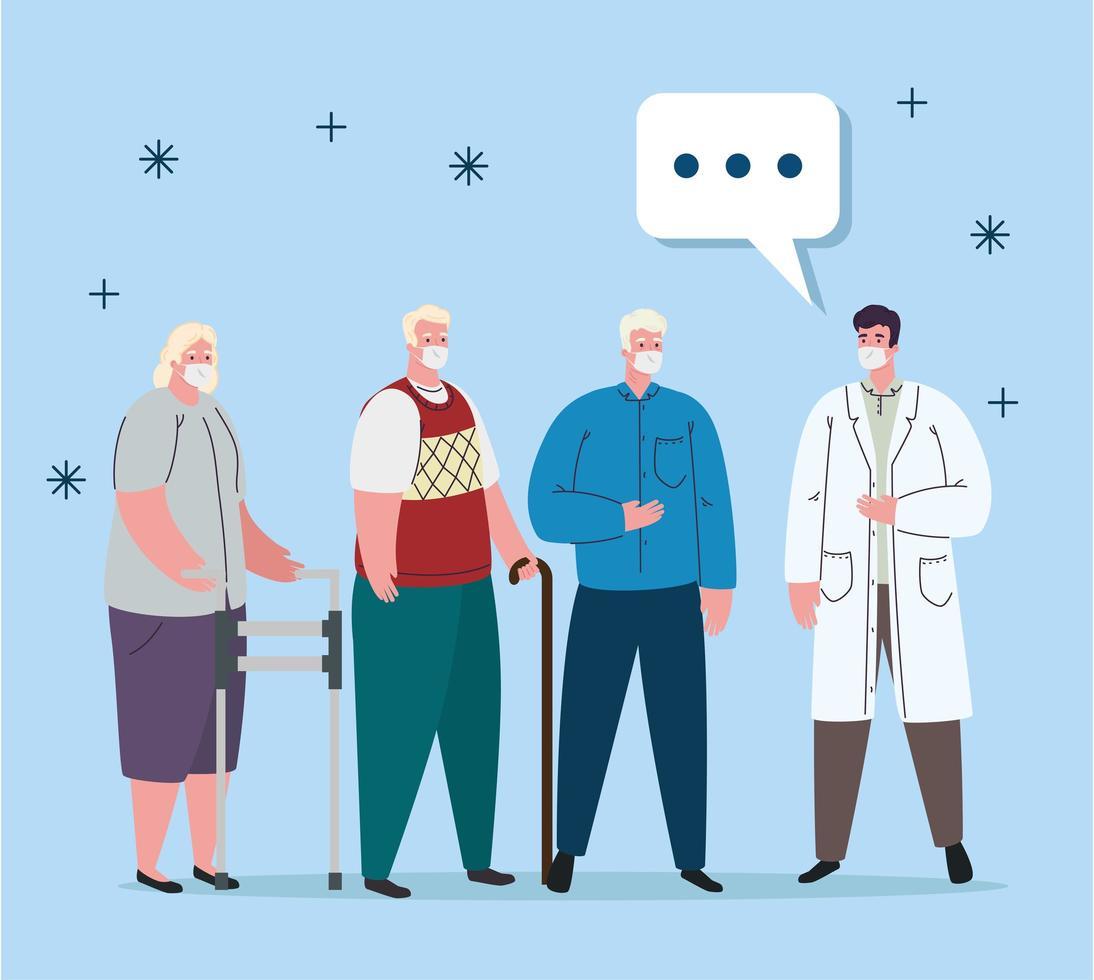 Ancianos y médico con máscaras y diseño de vector de burbuja