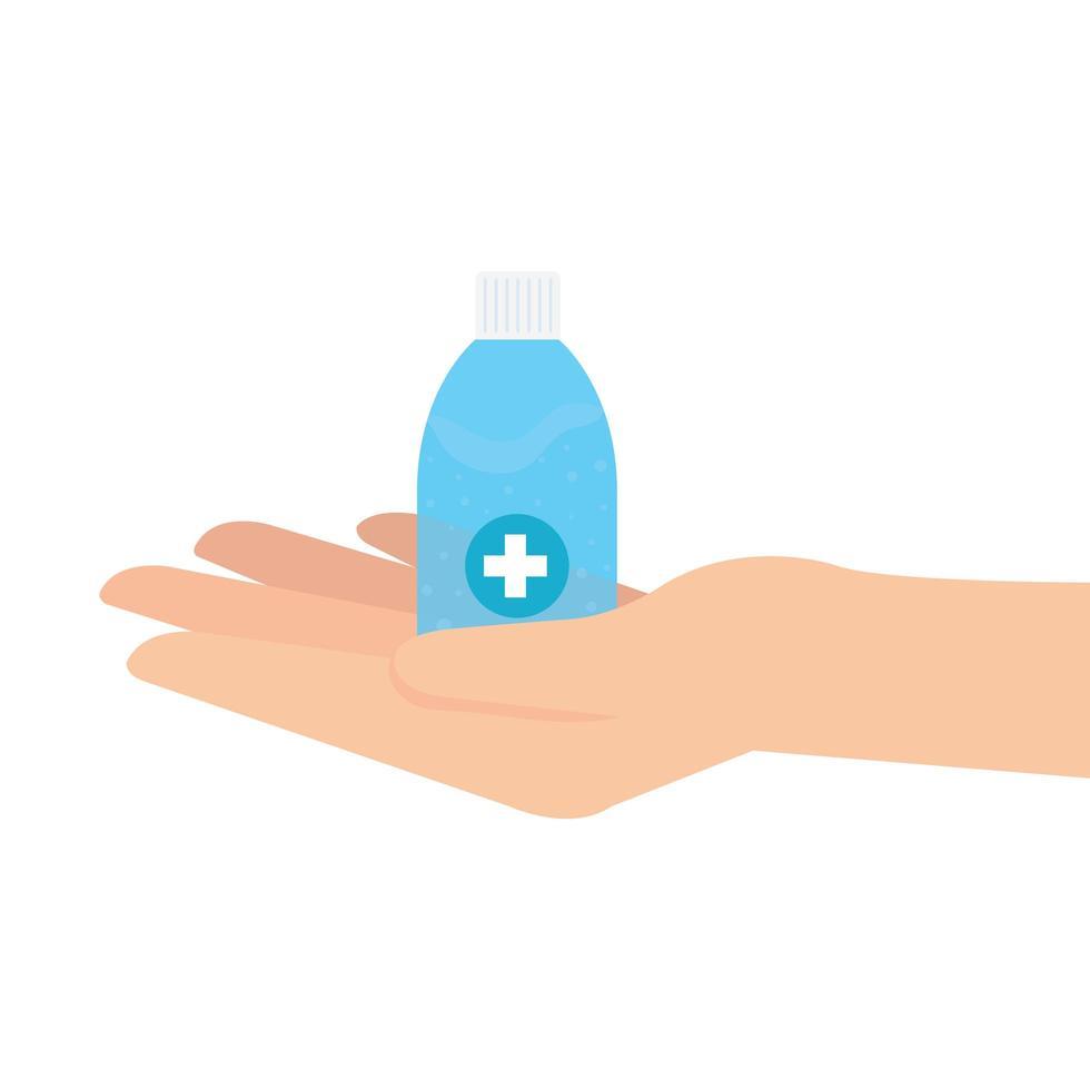 mano que sostiene la botella de desinfectante con diseño vectorial de manos vector
