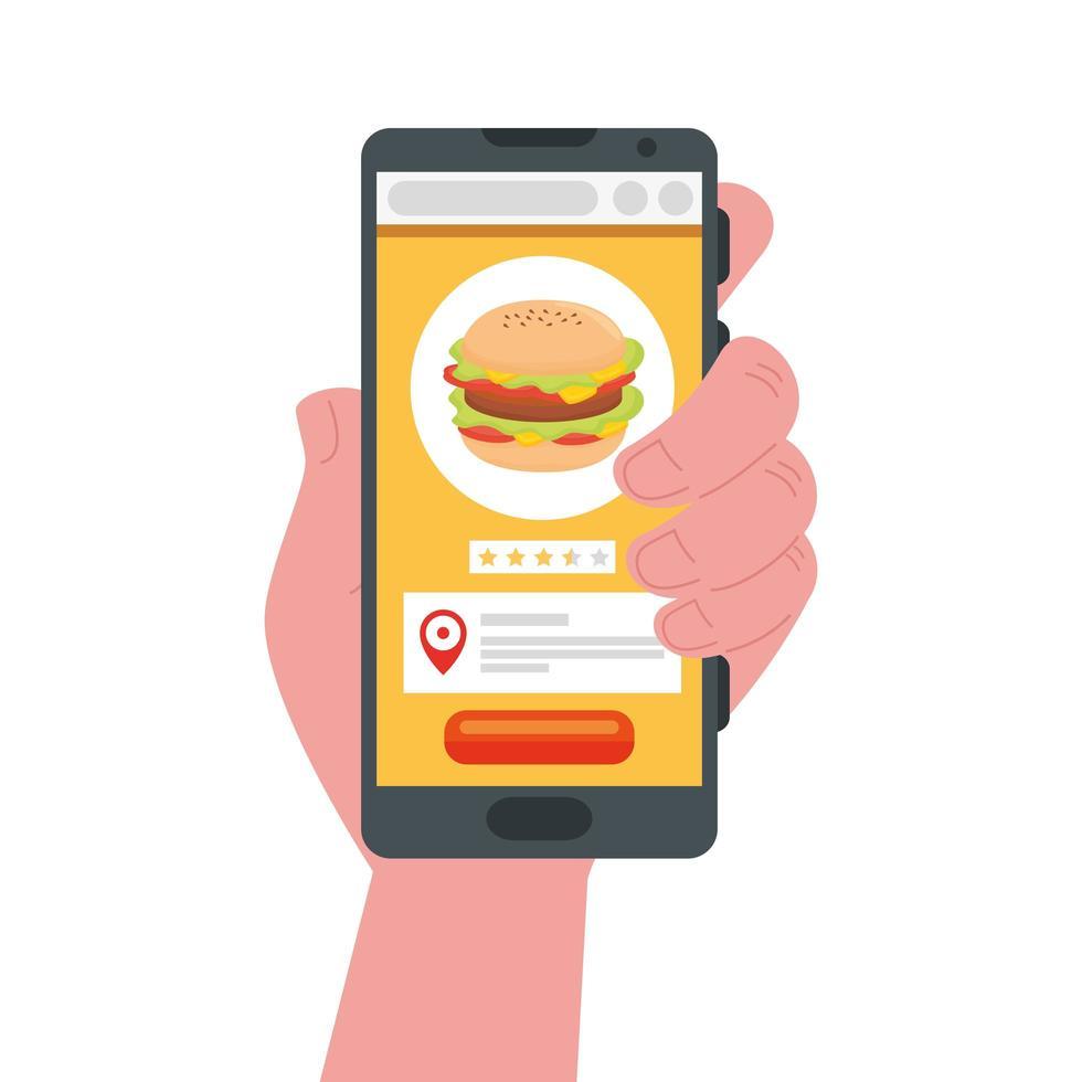mano sosteniendo martphone con hamburguesa de diseño vectorial de entrega segura vector
