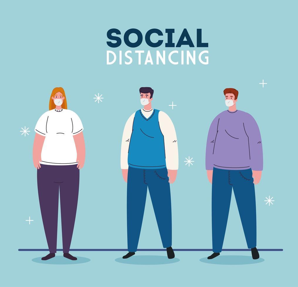 Mujer y hombre con máscaras y diseño vectorial de distanciamiento social. vector
