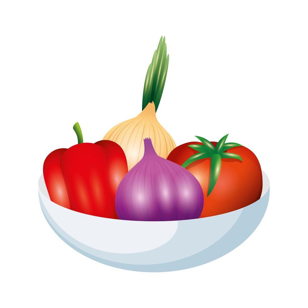 tomate, pimiento, cebolla y ajo, vegetal, vector, diseño vector