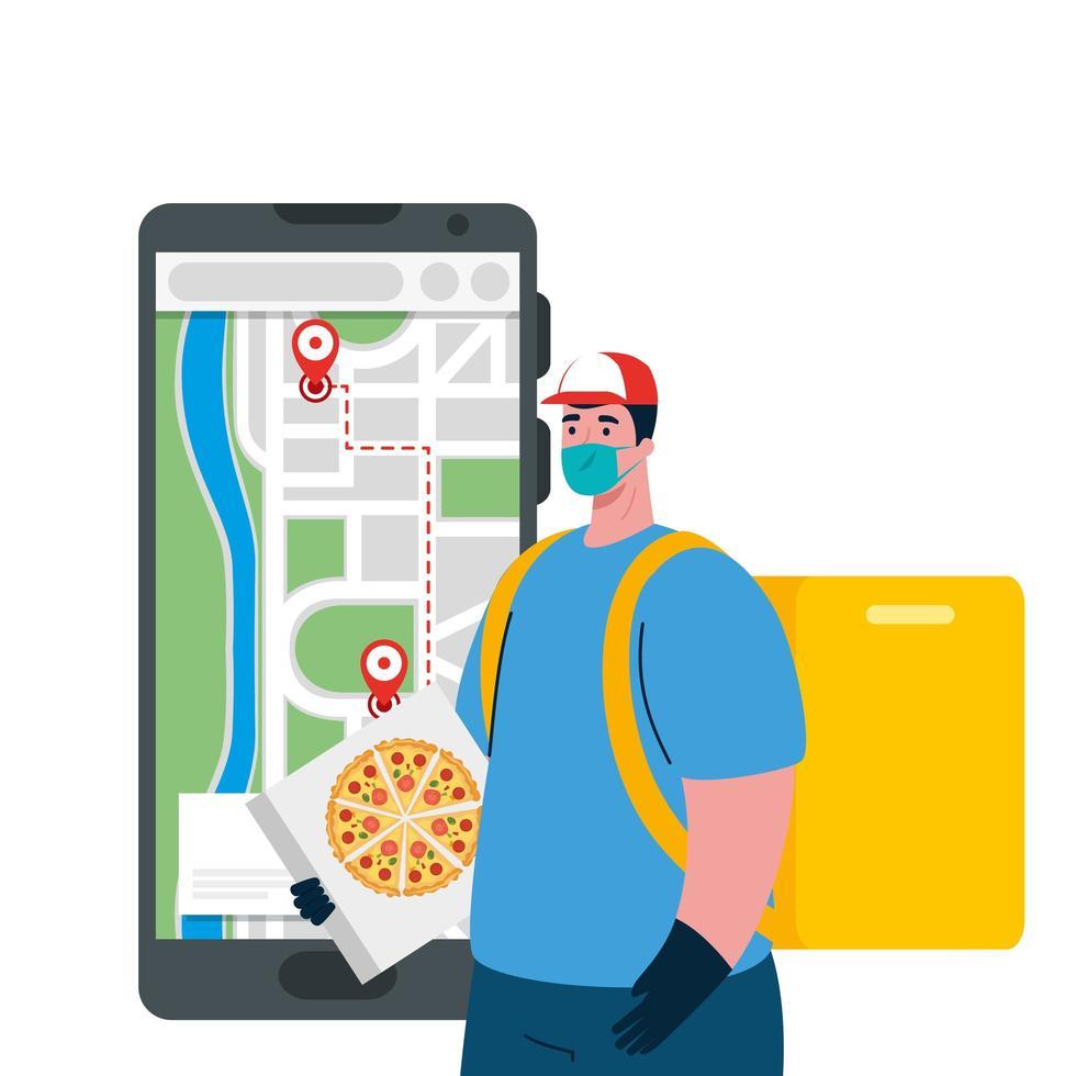 Repartidor con máscara de teléfono inteligente y diseño de vector de caja de pizza