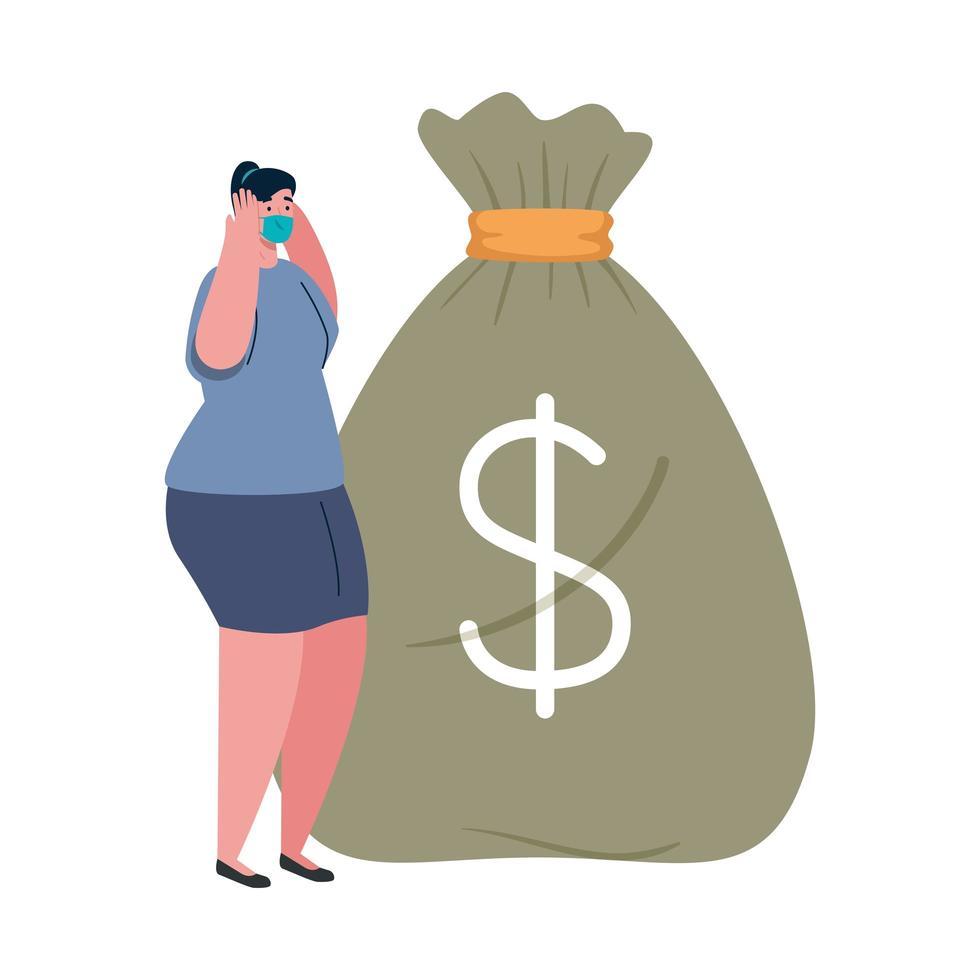 Mujer con máscara y bolsa de dinero de diseño vectorial de quiebra vector
