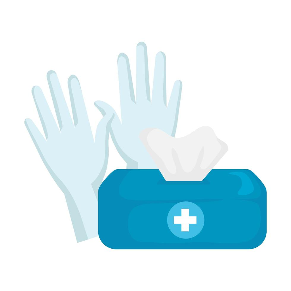 Caja de pañuelos aislados y guantes de diseño vectorial vector