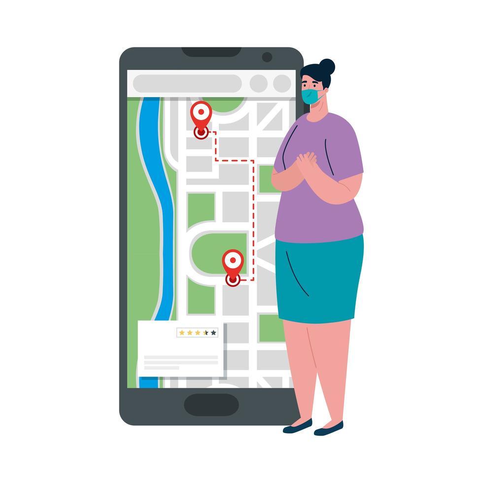 Cliente mujer con máscara y teléfono inteligente con diseño de vector de marcas de gps