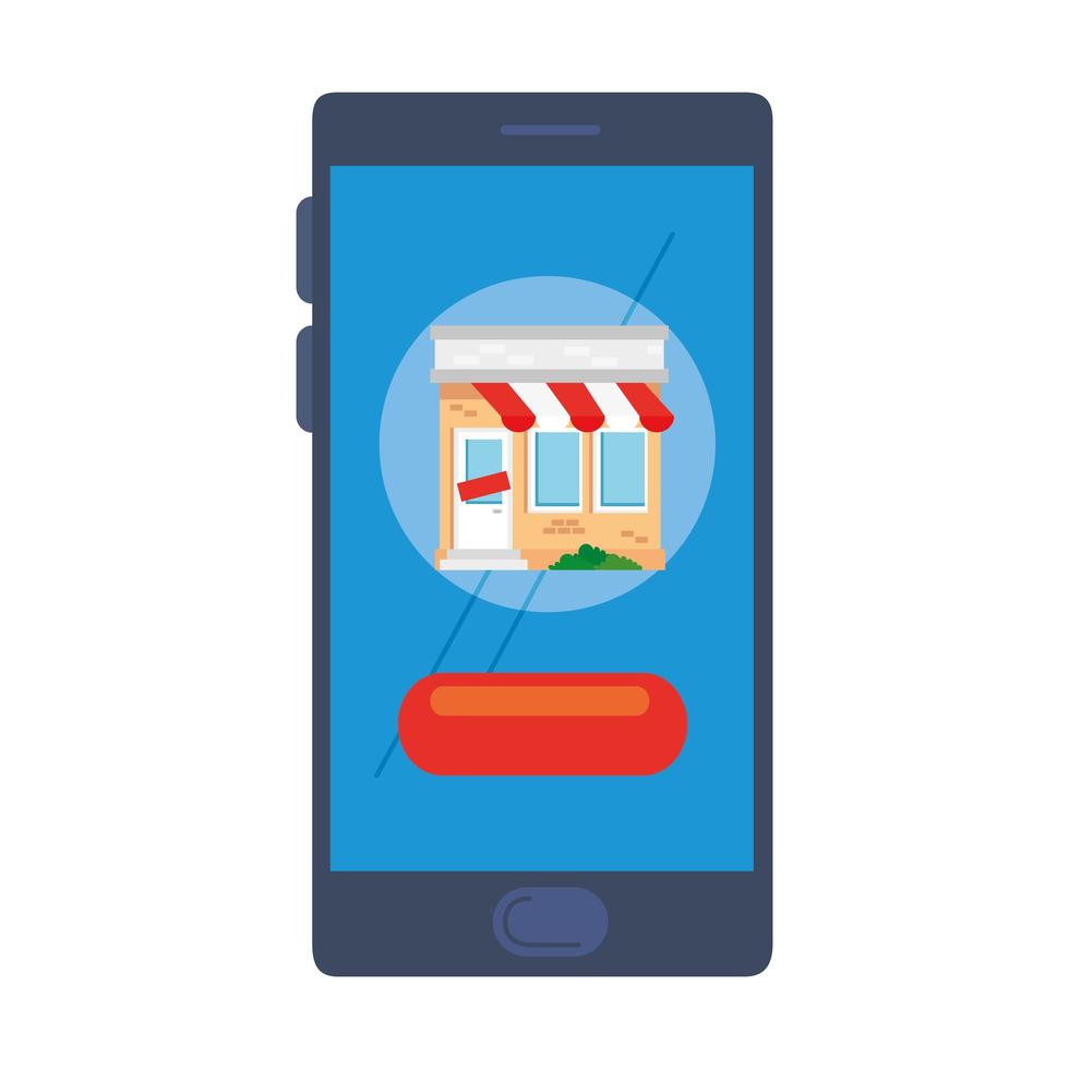 store with tent on smartphone vector design