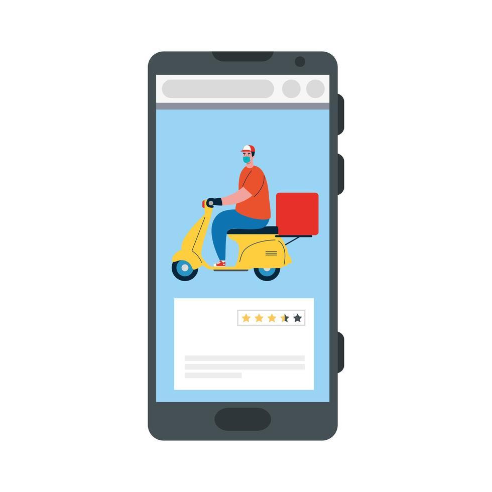 Smartphone y repartidor con máscara de motocicleta y diseño de vector de caja