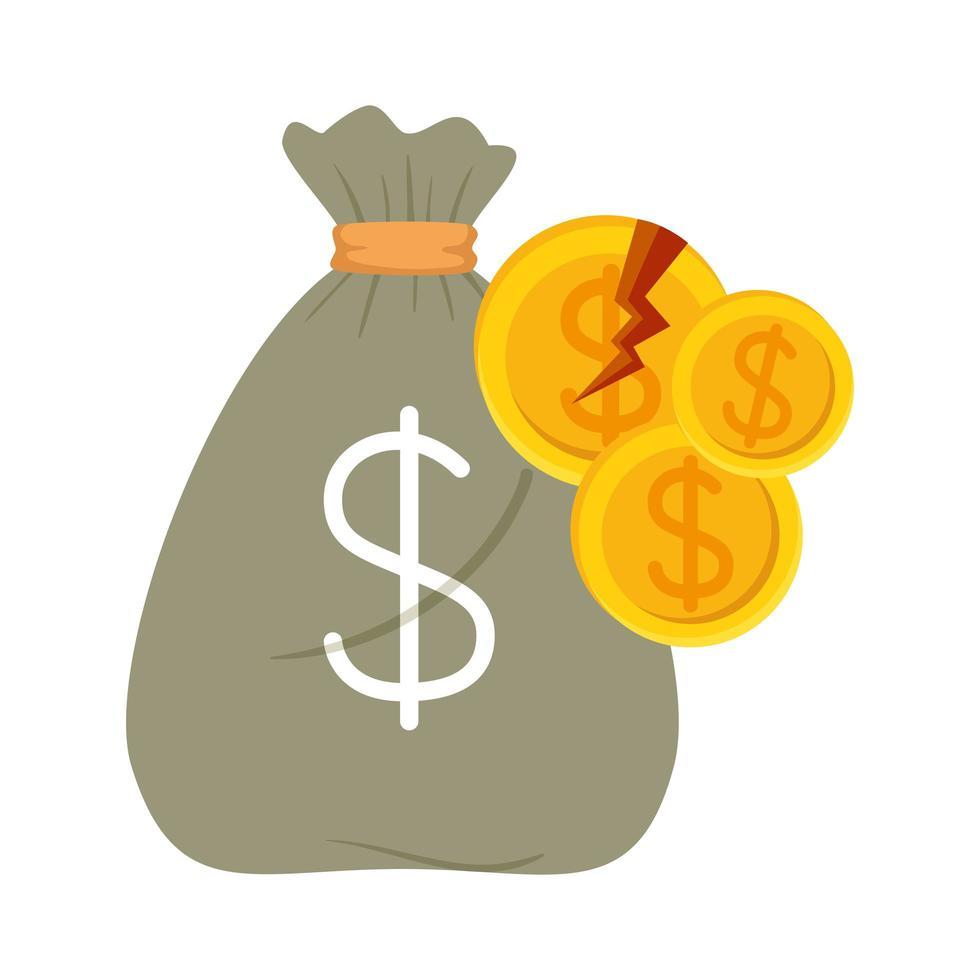 Monedas de dólar rotas y bolsa de dinero de diseño vectorial de quiebra vector