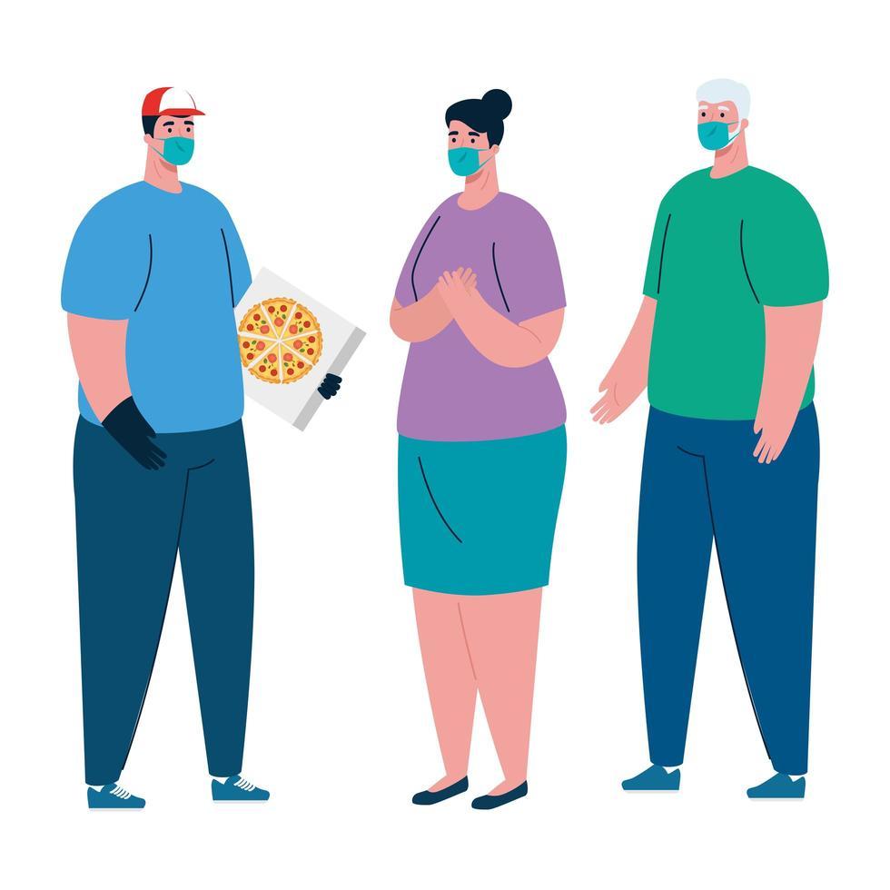 Repartidor y clientes con máscaras y diseño de vector de caja de pizza