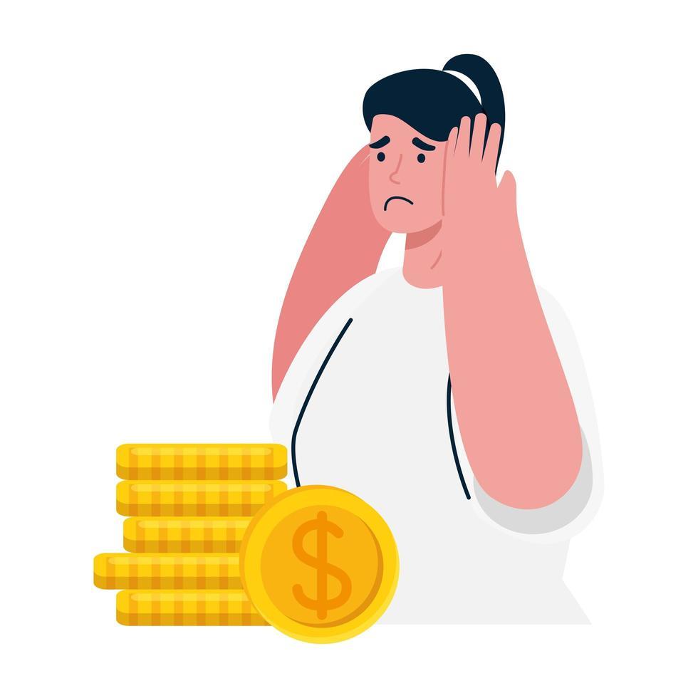 Mujer triste y monedas de diseño vectorial de quiebra vector