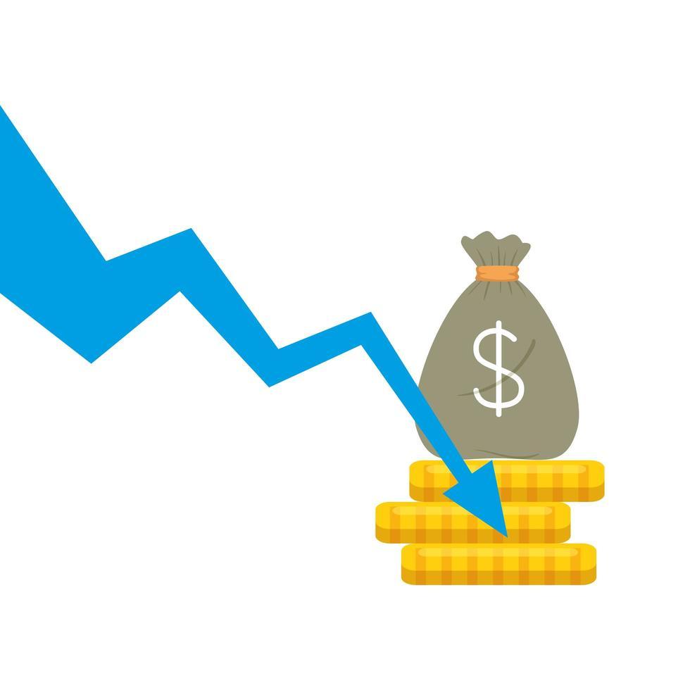 bolsa de dinero y monedas con diseño vectorial de flecha decreciente vector