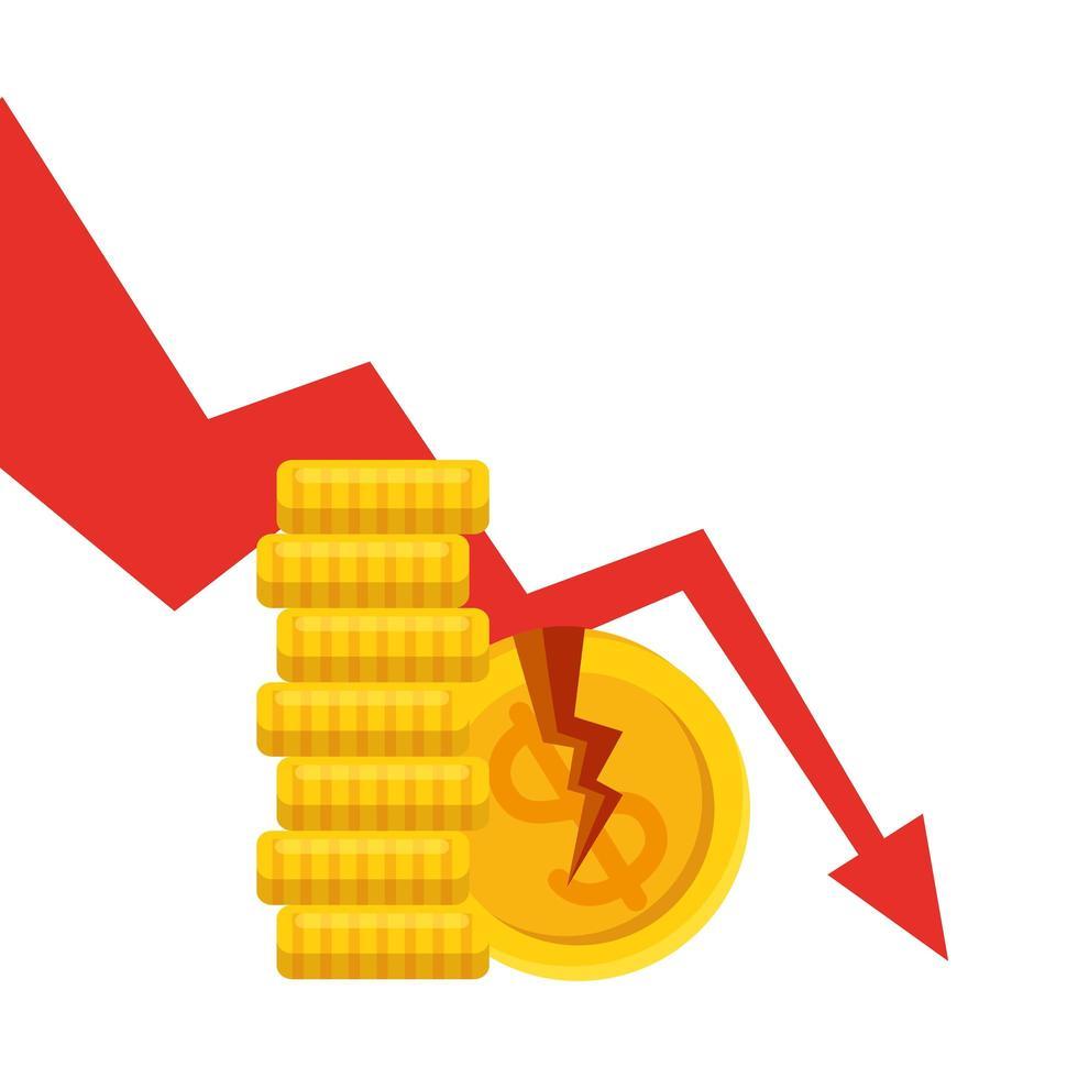 monedas de dólar rotas y flecha decreciente de diseño vectorial de quiebra vector