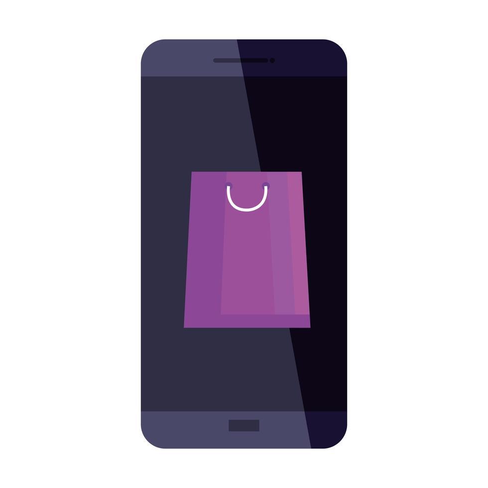 bolsa de compras en diseño vectorial de teléfono inteligente vector
