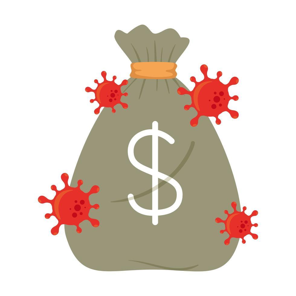 bolsa de dinero con virus covid 19 de diseño vectorial de quiebra vector