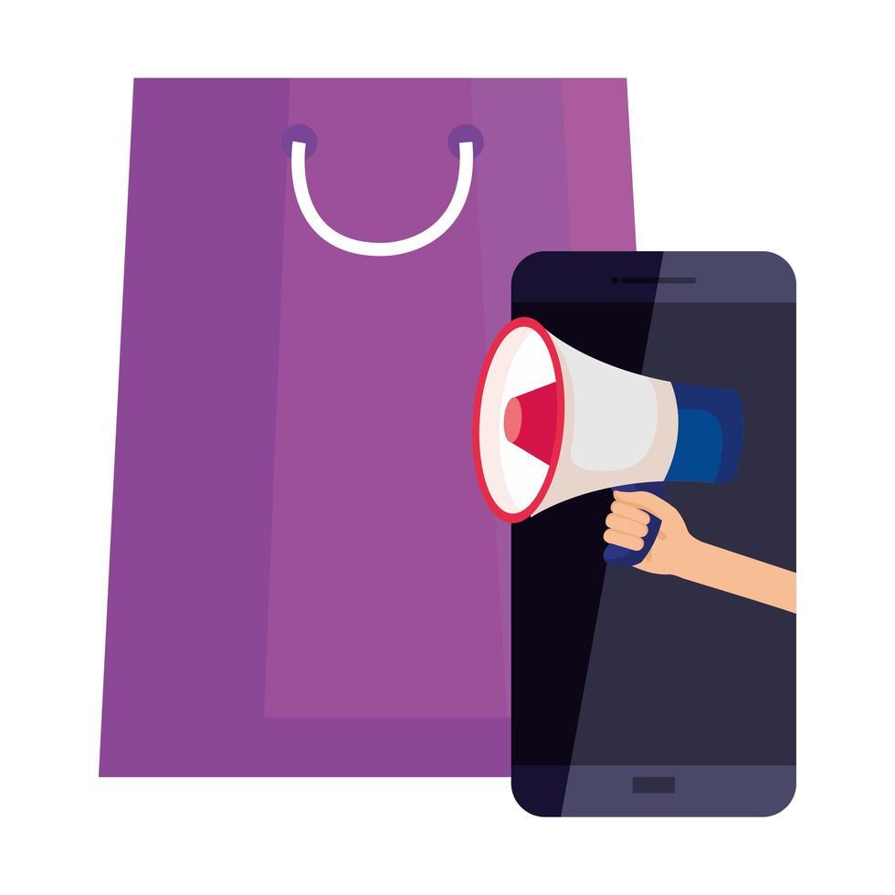 Bolsa de compras y teléfono inteligente con diseño de vector de megáfono