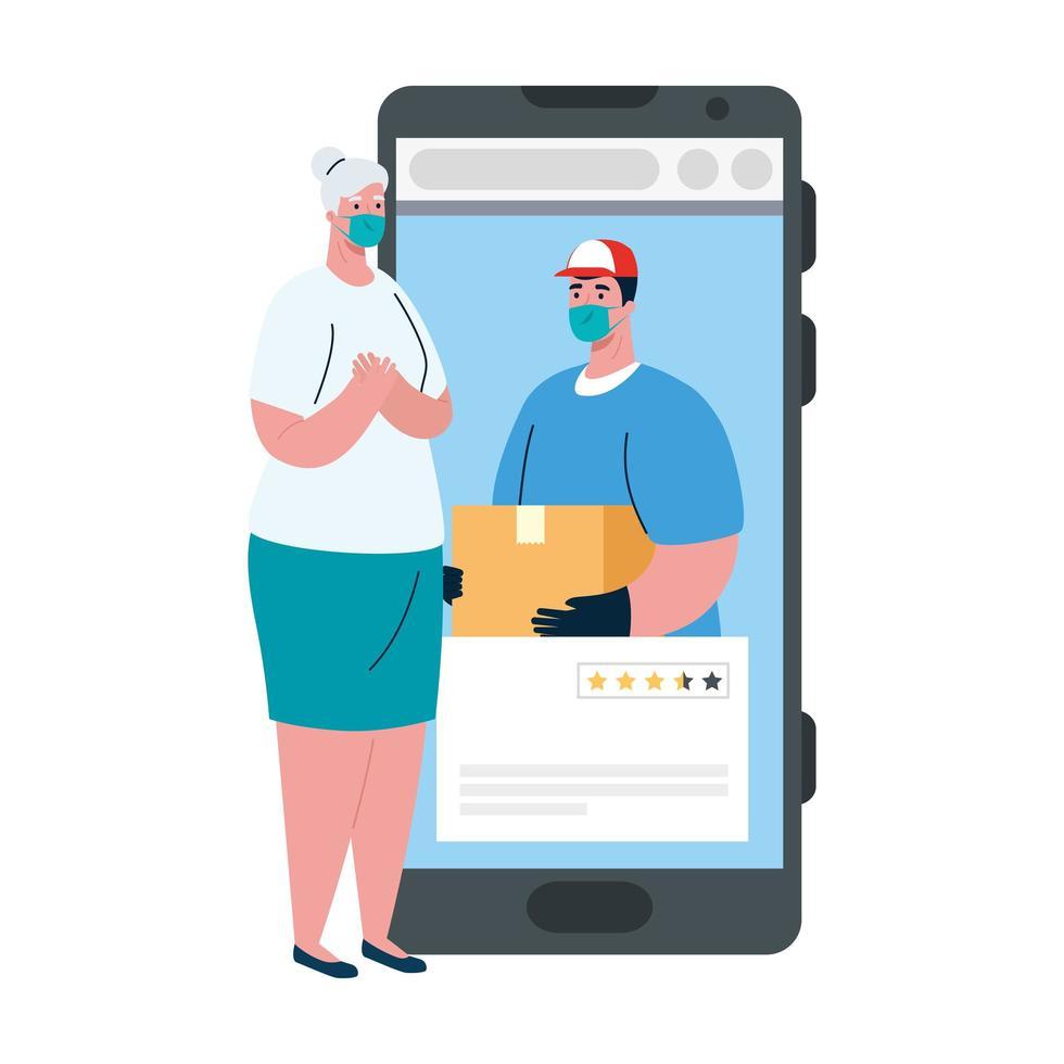 Cliente mujer y repartidor con máscara y caja en diseño vectorial de smartphone vector