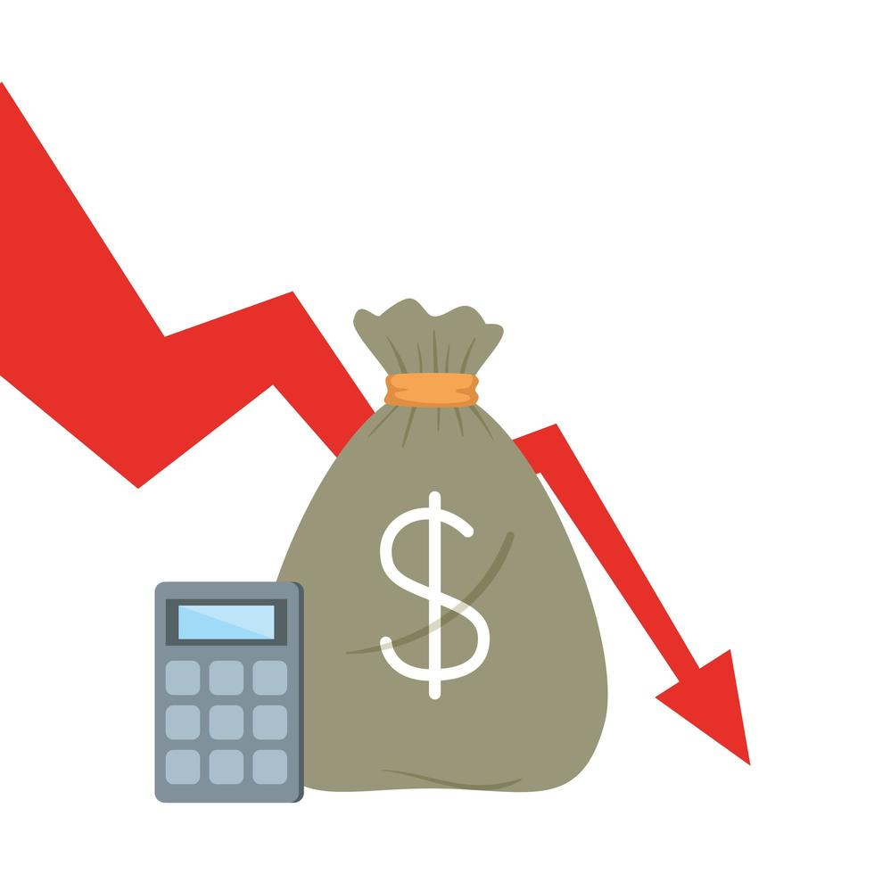 bolsa de dinero y calculadora con diseño de vector de flecha decreciente