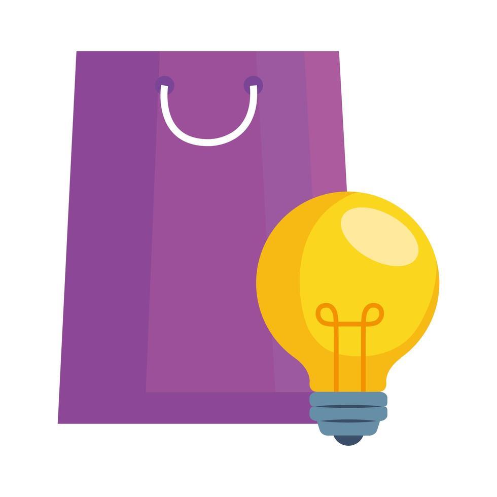 bolsa de compras y diseño vectorial de bombilla vector