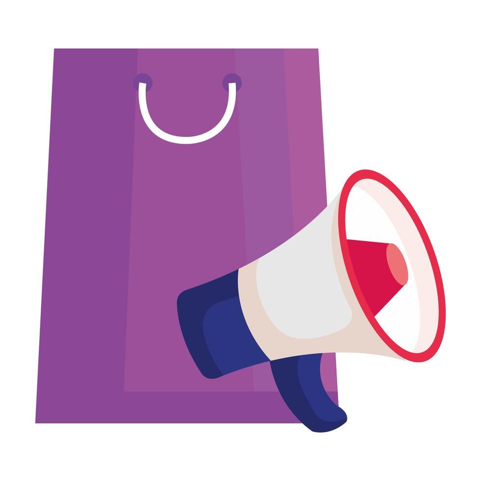 bolsa de compras y diseño vectorial de megáfono vector