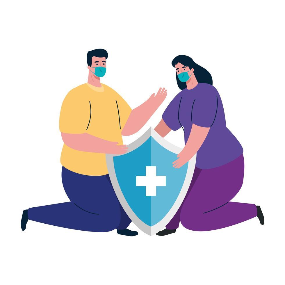 Avatar de mujer y hombre con máscara médica y diseño de vector de escudo