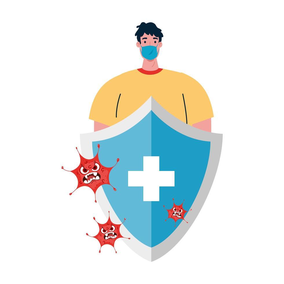 Avatar de hombre con máscara médica y escudo con diseño vectorial cruzado vector