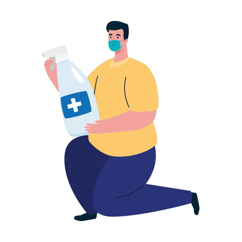 Avatar de hombre con máscara médica y diseño de vector de desinfectante de manos