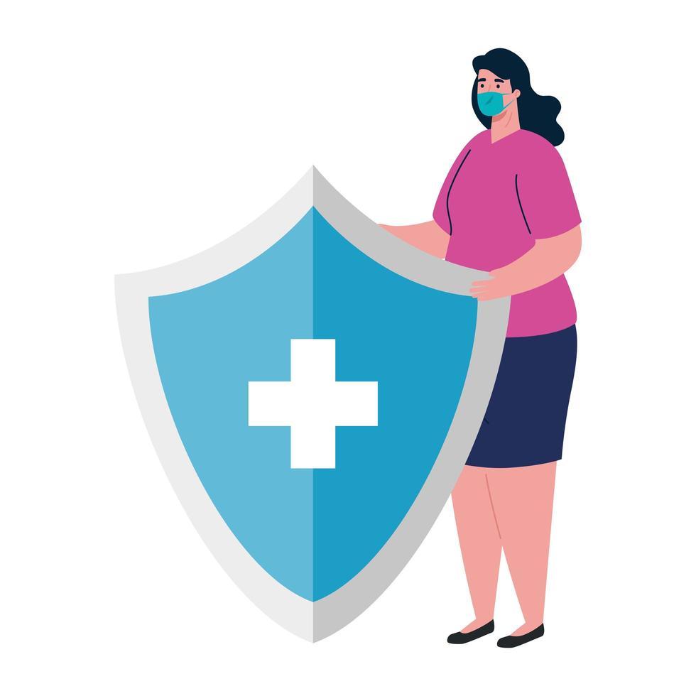 Mujer con máscara médica y escudo con diseño vectorial cruzado vector