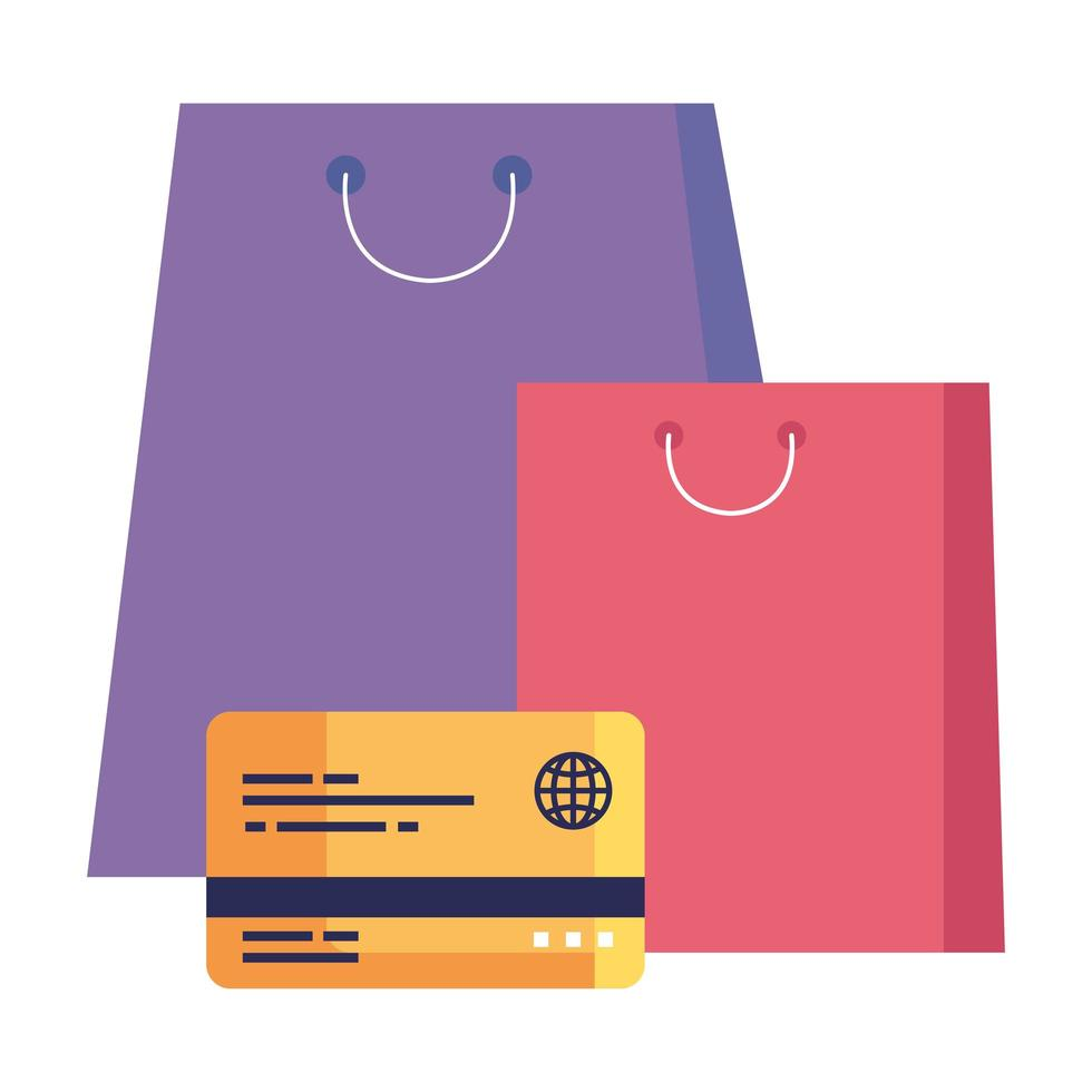 shopping bags and credit card vector design