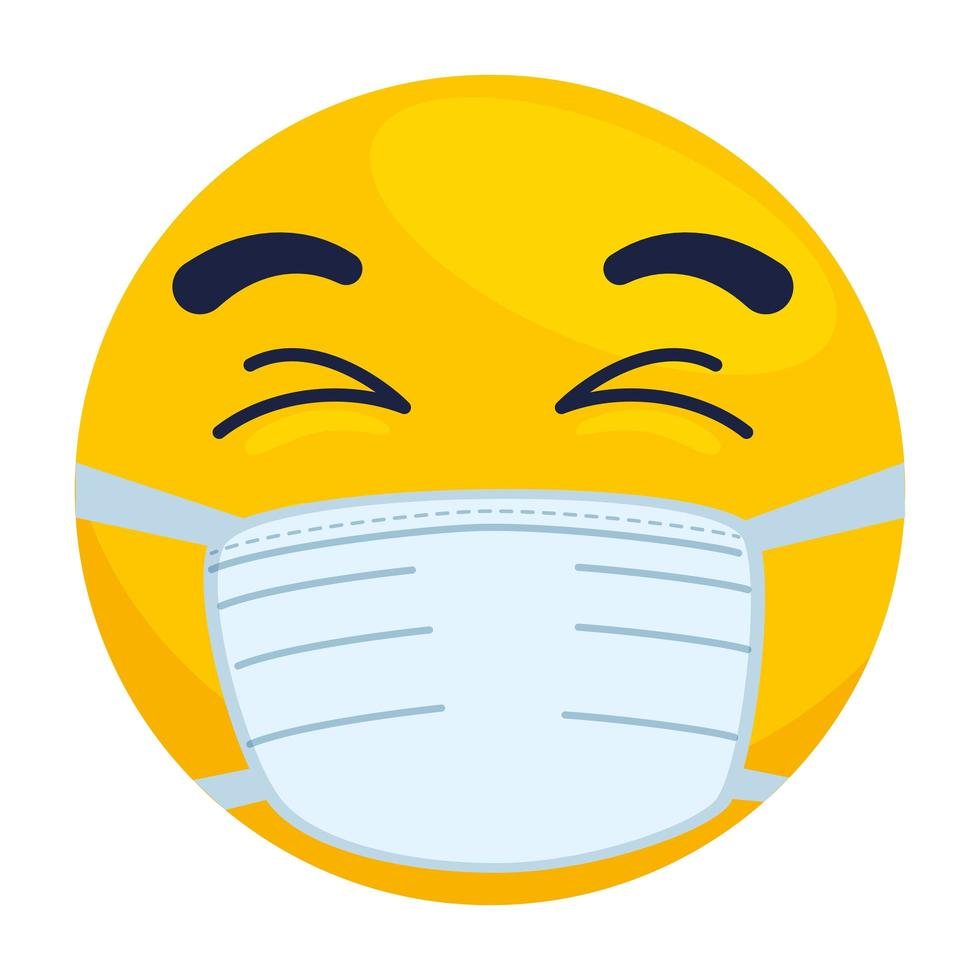 emoji with eyes closed wearing medical mask, yellow face with eyes closed using white surgical mask icon vector