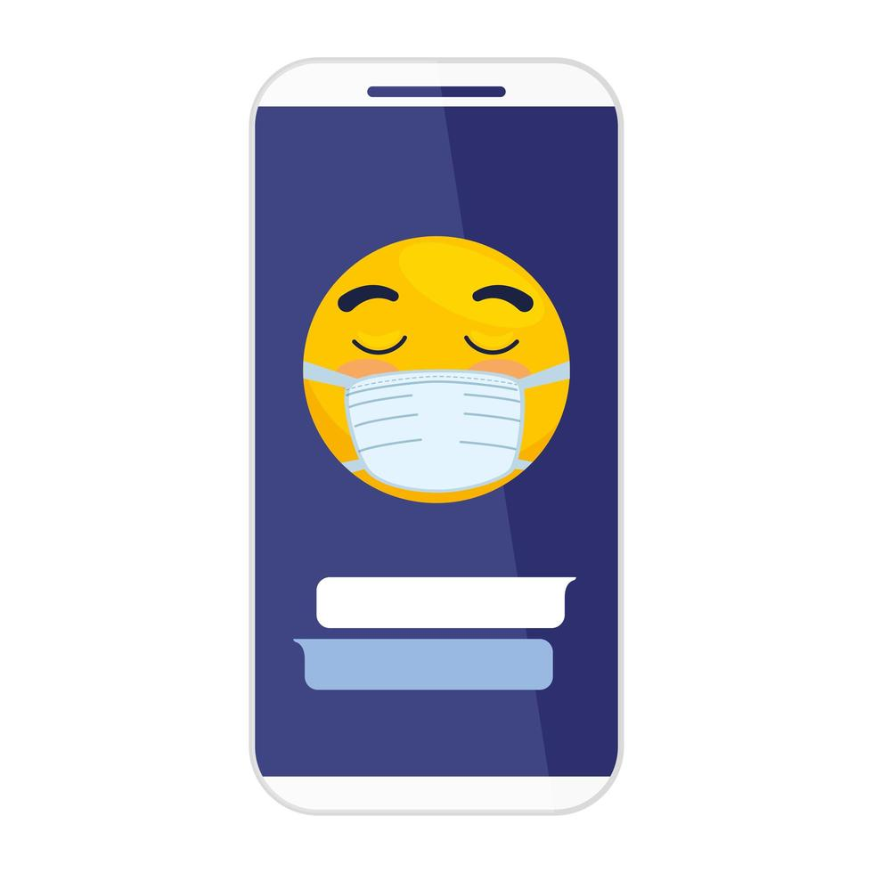 smartphone and emoji with eyes closed wearing medical mask on white background vector