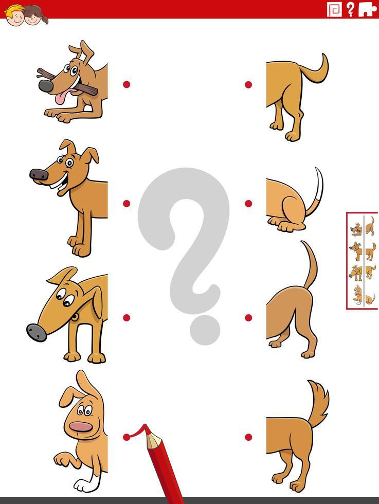 juego educativo de emparejar mitades de dibujos animados con perros vector