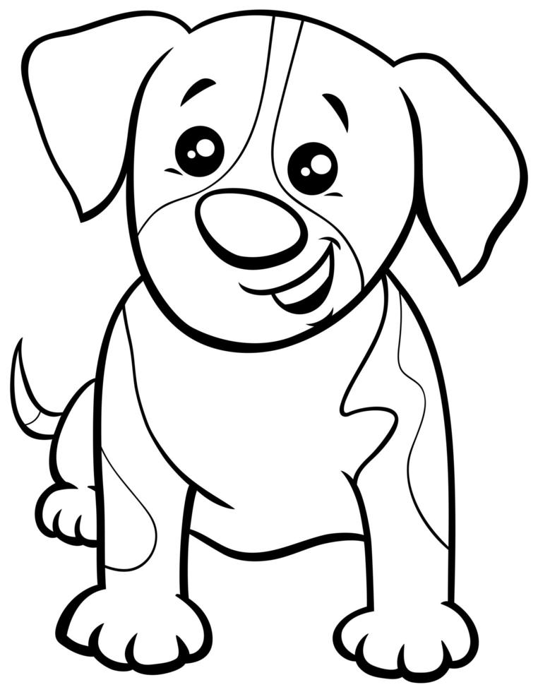 Cartoon Spotted Puppy Coloring Book Page 1892804 Vector Art At Vecteezy