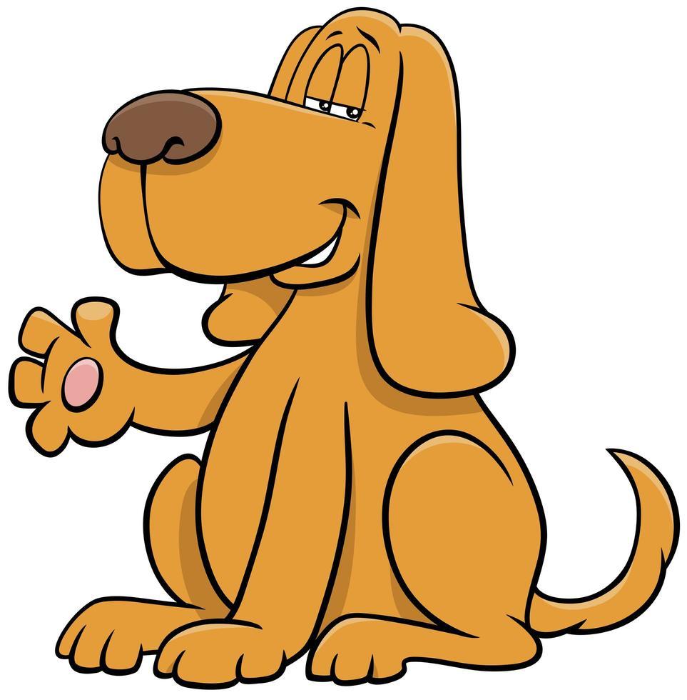 caricatura, perro, animal, carácter, agitar, pata vector