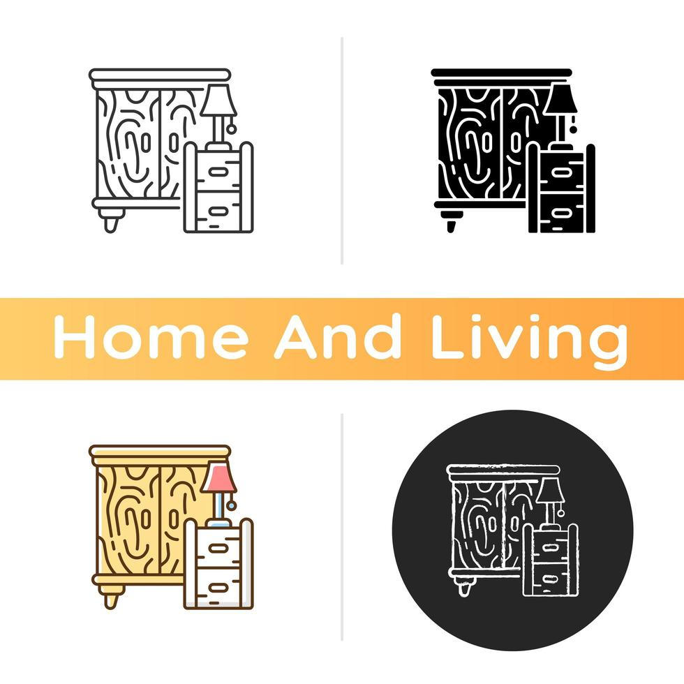 Wooden furniture icon vector